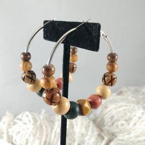 Earth Tone wooden bead boho hoop earrings